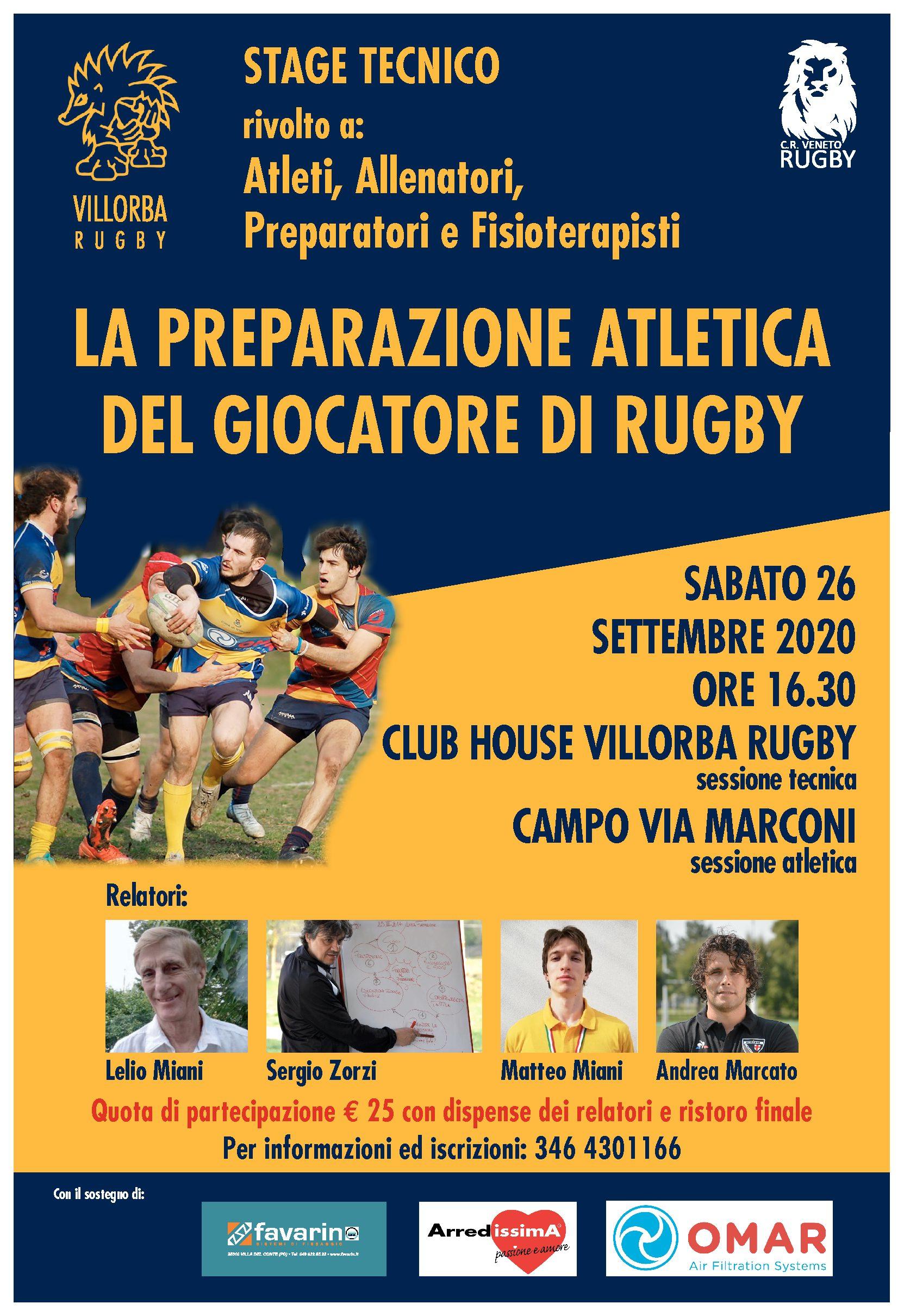 """Stage tecnico """" La preparazione atletica del giocatore di Rugby """" Villorba 26.09.2020"""
